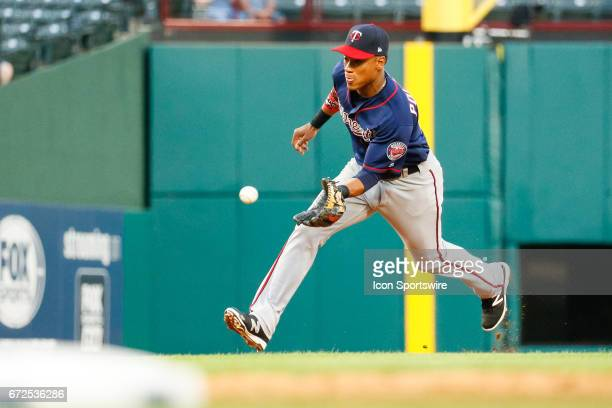 Minnesota Twins Shortstop Jorge Polanco charges a ground ball during the MLB game between the Minnesota Twins and Texas Rangers on April 24 2017 at...