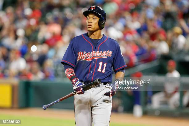 Minnesota Twins Shortstop Jorge Polanco during the MLB game between the Minnesota Twins and Texas Rangers on April 24 2017 at Globe Life Park in...