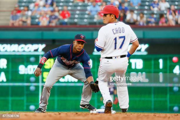 Minnesota Twins Shortstop Jorge Polanco easily tags out Texas Rangers Designated hitter ShinSoo Choo during the MLB game between the Minnesota Twins...