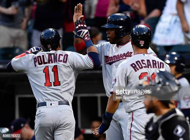 Minnesota Twins shortstop Jorge Polanco is celebrated after his home run during the game between the Minnesota Twins and the Chicago White Sox on...