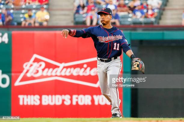 Minnesota Twins Shortstop Jorge Polanco makes a play on a ground ball during the MLB game between the Minnesota Twins and Texas Rangers on April 24...