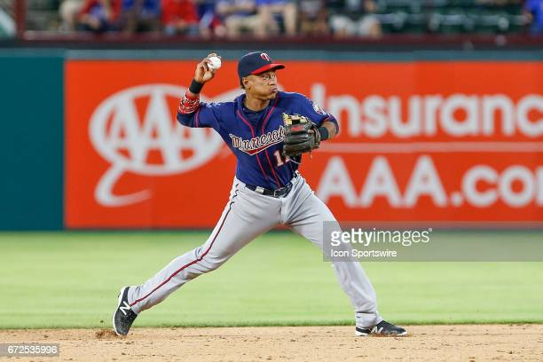 Minnesota Twins Shortstop Jorge Polanco throws over for the final out of the MLB game between the Minnesota Twins and Texas Rangers on April 24 2017...