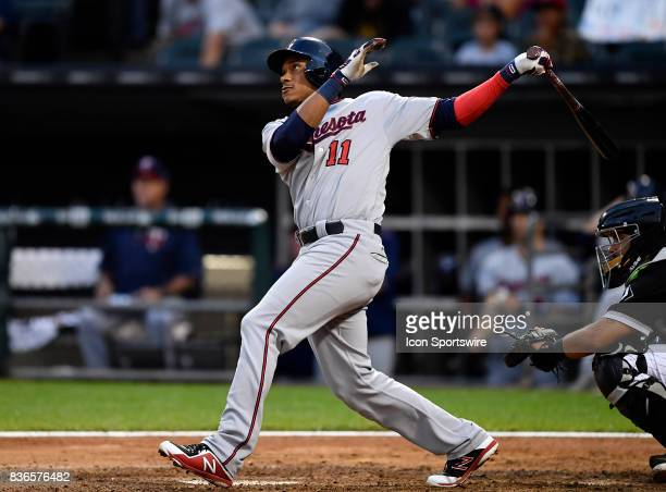 Minnesota Twins shortstop Jorge Polanco watches his home run ball leave the park during the game between the Minnesota Twins and the Chicago White...