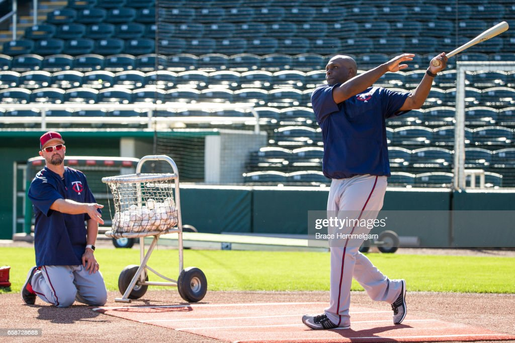 Minnesota Twins special assistants Michael Cuddyer #5 and Torii Hunter #48 during a team workout on February 20, 2017 at the CenturyLink Sports Complex in Fort Myers, Florida.