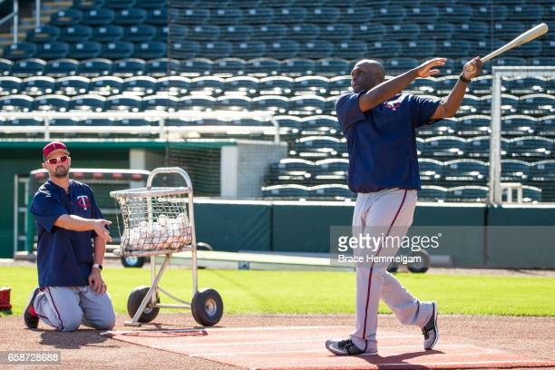 Minnesota Twins special assistants Michael Cuddyer and Torii Hunter during a team workout on February 20 2017 at the CenturyLink Sports Complex in...