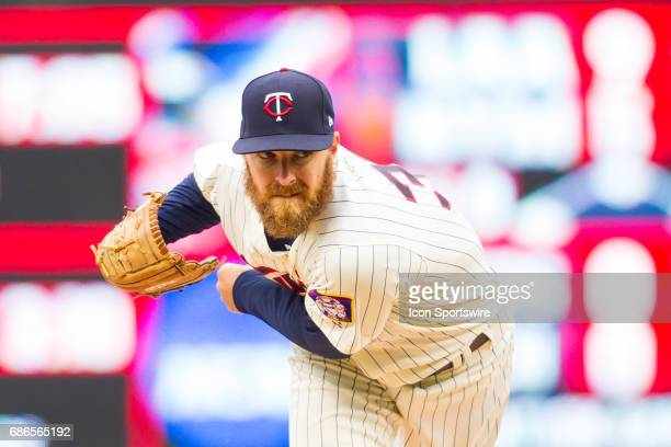 Minnesota Twins starting pitcher Adam Wilk pitches after replacing starting pitcher Phil Hughes in the top of the 5th inning during the 1st game of a...