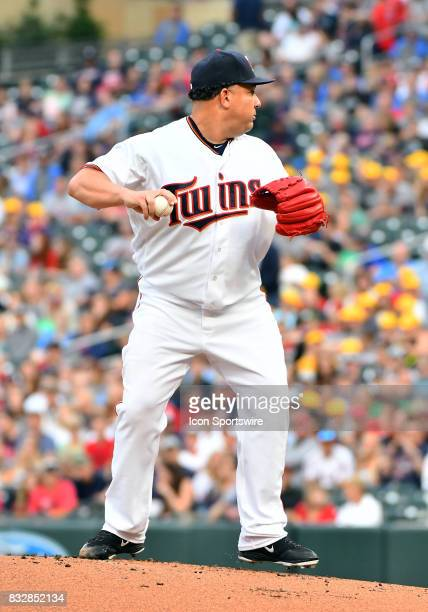 Minnesota Twins Starting pitcher Bartolo Colon balks during a MLB game between the Minnesota Twins and Cleveland Indians on August 15 2017 at Target...