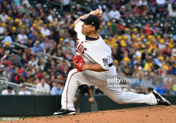 Minnesota Twins Starting pitcher Bartolo Colon delivers a pitch during a MLB game between the Minnesota Twins and Cleveland Indians on August 15 2017...