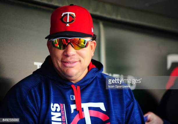 Minnesota Twins Starting pitcher Bartolo Colon looks on from the dugout during a MLB game between the Minnesota Twins and Toronto Blue Jays on...