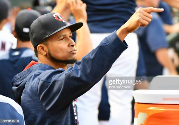 Minnesota Twins Starting pitcher Ervin Santana points to Minnesota Twins Center field Byron Buxton from the dugout during a MLB game between the...