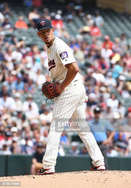 Minnesota Twins Starting pitcher Jose Berrios checks the runner at 1st during a MLB game between the Minnesota Twins and New York Yankees on July 19...