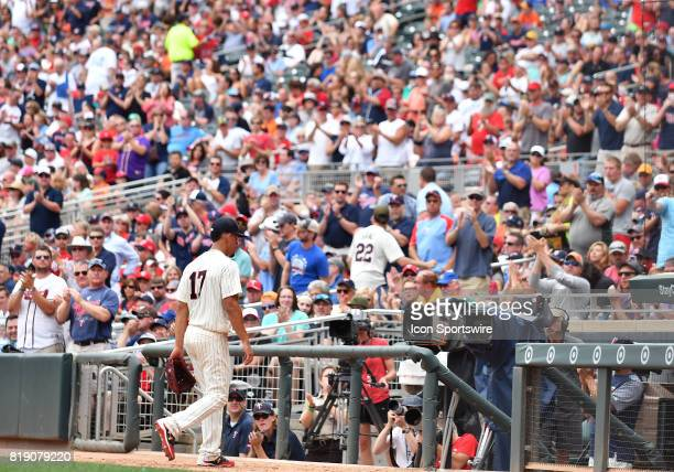 Minnesota Twins Starting pitcher Jose Berrios gets a standing ovation after being pulled in the 6th during a MLB game between the Minnesota Twins and...