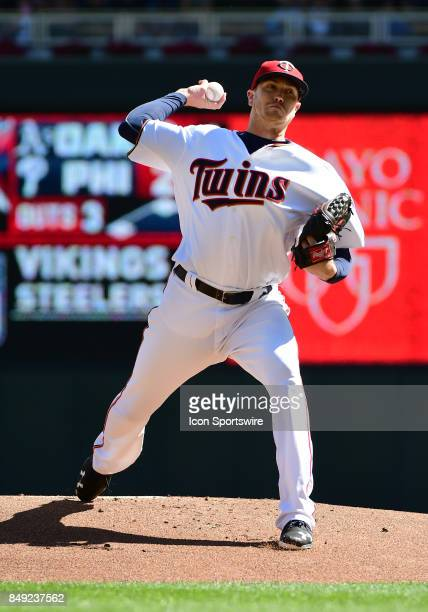 Minnesota Twins Starting pitcher Kyle Gibson delivers a pitch during a MLB game between the Minnesota Twins and Toronto Blue Jays on September 17...