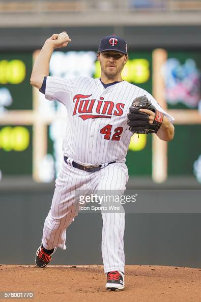 APR 15 2014 Minnesota Twins Starting pitcher Phil Hughes [5020] pitching in the first inning against the Toronto Blue Jays at Target Field...