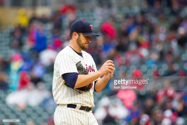 Minnesota Twins starting pitcher Phil Hughes approaches the mound during the 1st game of a doubleheader between the Kansas City Royals and the...
