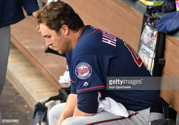 Minnesota Twins starting pitcher Phil Hughes is shown in the dugout after being relieved in the sixth inning during a MLB game between the Minnesota...