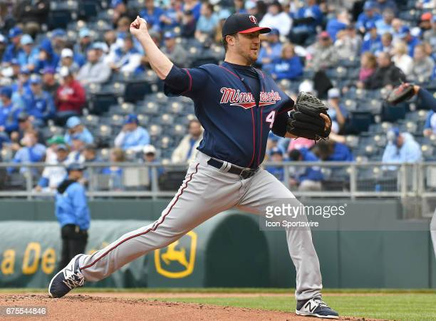 Minnesota Twins starting pitcher Phil Hughes pitches during the first inning during a MLB game between the Minnesota Twins and the Kansas City Royals...
