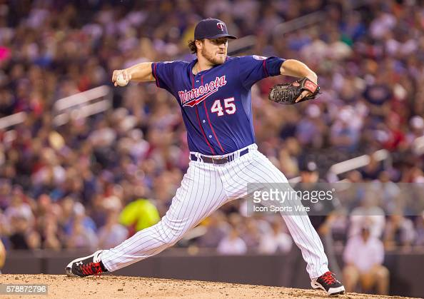 Minnesota Twins starting pitcher Phil Hughes pitches in the fifth inning against the Cleveland Indians at Target Field Minneapolis MN The Minnesota...
