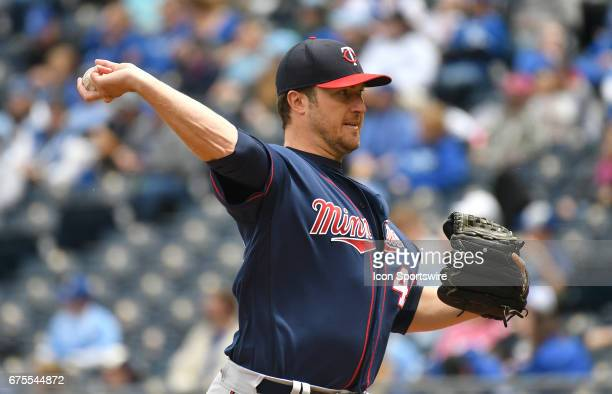 Minnesota Twins starting pitcher Phil Hughes pitches in the first inning during a MLB game between the Minnesota Twins and the Kansas City Royals on...