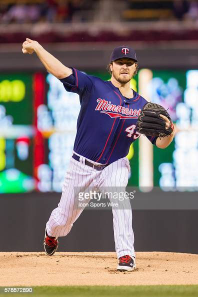 Minnesota Twins starting pitcher Phil Hughes pitches in the first inning against the Cleveland Indians at Target Field Minneapolis MN The Minnesota...