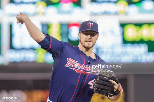Minnesota Twins starting pitcher Phil Hughes pitches in the first inning against the Houston Astros at Target Field Minneapolis MN