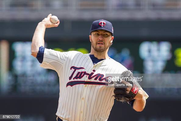 Minnesota Twins starting pitcher Phil Hughes pitches in the first inning against the Detroit Tigers at Target Field Minneapolis MN