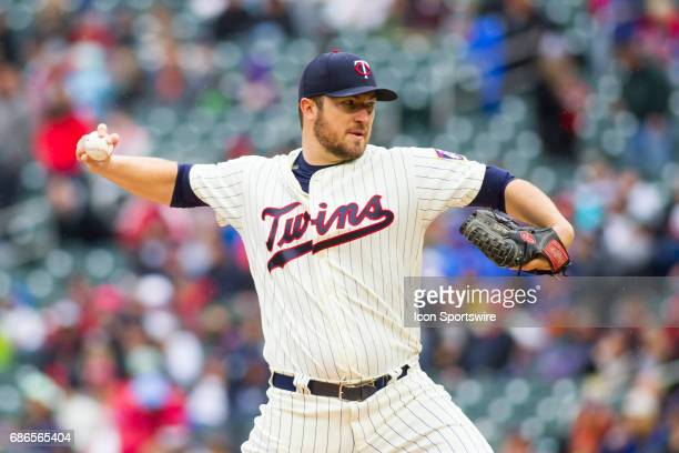Minnesota Twins starting pitcher Phil Hughes pitches in the top of the 1st inning during the 1st game of a doubleheader between the Kansas City...