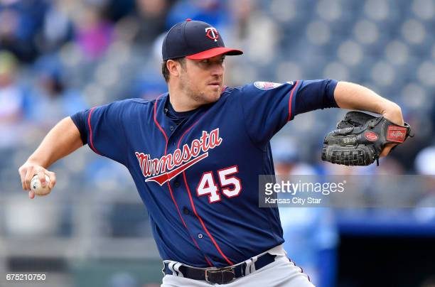 Minnesota Twins starting pitcher Phil Hughes throws in the first inning against the Kansas City Royals on Sunday April 30 2017 at Kauffman Stadium in...