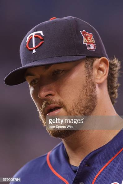Minnesota Twins starting pitcher Phil Hughes walks back to the dugout in the third inning against the Houston Astros at Target Field Minneapolis MN