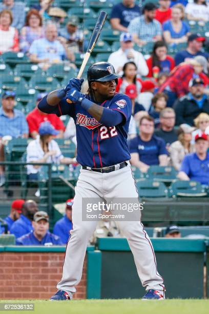 Minnesota Twins Third base Miguel Sano bats during the MLB game between the Minnesota Twins and Texas Rangers on April 24 2017 at Globe Life Park in...