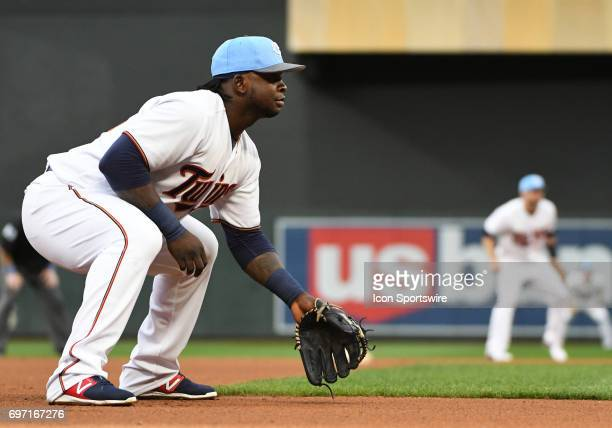 Minnesota Twins Third base Miguel Sano gets set during the 2nd game of a MLB splitdoubleheader between the Minnesota Twins and Cleveland Indians on...