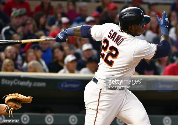 Minnesota Twins Third base Miguel Sano hits a ground ball during a MLB game between the Minnesota Twins and Cleveland Indians on August 15 2017 at...