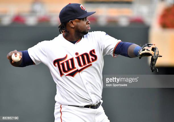 Minnesota Twins Third base Miguel Sano makes a throw during a MLB game between the Minnesota Twins and Cleveland Indians on August 15 2017 at Target...