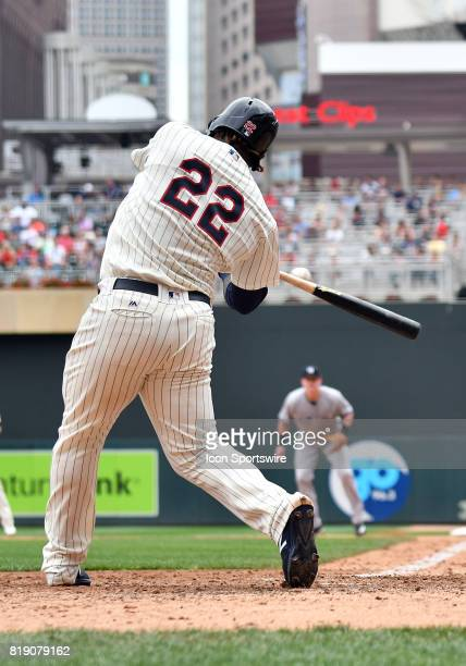 Minnesota Twins Third base Miguel Sano makes contact during a MLB game between the Minnesota Twins and New York Yankees on July 19 2017 at Target...