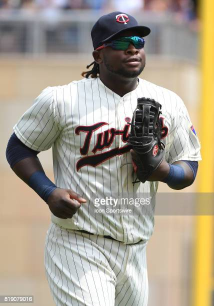 Minnesota Twins Third base Miguel Sano runs to 1st after making a visit to the mound during a MLB game between the Minnesota Twins and New York...