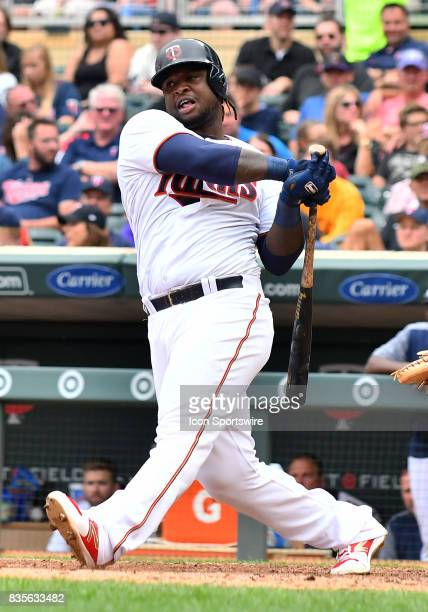 Minnesota Twins Third base Miguel Sano strikes out for the 3rd time during game 1 of a MLB splitdoubleheader between the Minnesota Twins and...