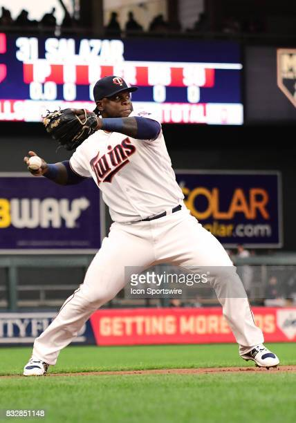 Minnesota Twins Third base Miguel Sano throws to 1st during a MLB game between the Minnesota Twins and Cleveland Indians on August 15 2017 at Target...