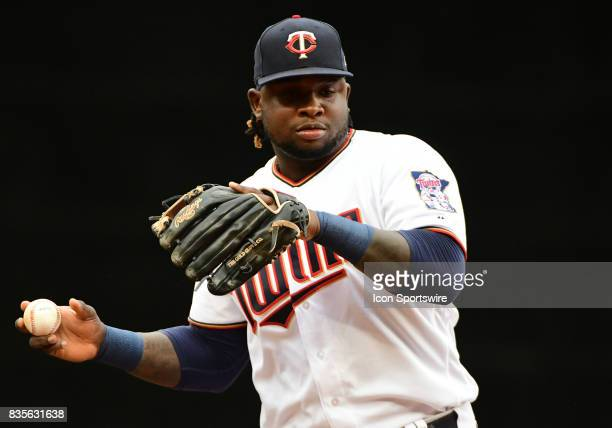 Minnesota Twins Third base Miguel Sano warms up during game 1 of a MLB splitdoubleheader between the Minnesota Twins and Cleveland Indians on August...