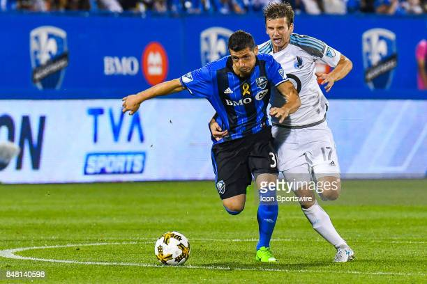 Minnesota United FC midfielder Collin Martin tries to grab Montreal Impact midfielder Blerim Dzemaili during the Minnesota United FC versus the...