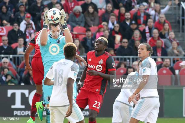 TORONTO MAY 13 Minnesota United goalkeeper Bobby Shuttleworth pulls down a corner kick as Toronto FC beats Minnesota United 32 in MLS action at BMO...