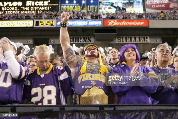 Minnesota Viking fans cheer as the Vikings are introduced before the NFC Wild Card playoff game against the Philadelphia Eagles on January 4 2008 at...