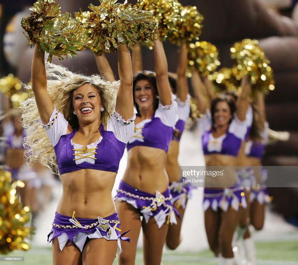 Minnesota Vikings cheerleaders perform during an NFL game against the Green Bay Packers at Mall of America Field at the Hubert H. Humphrey Metrodome on October 27, 2013 in Minneapolis, Minnesota.