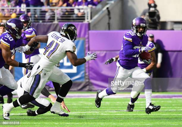 Minnesota Vikings cornerback Marcus Sherels returns a punt during a NFL game between the Minnesota Vikings and Baltimore Ravens on October 22 2017 at...