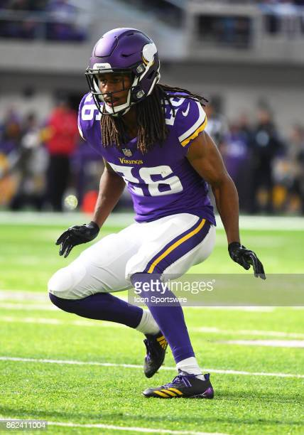 Minnesota Vikings cornerback Trae Waynes goes into cover mode during a NFL game between the Minnesota Vikings and Green Bay Packers on October 1 2017...