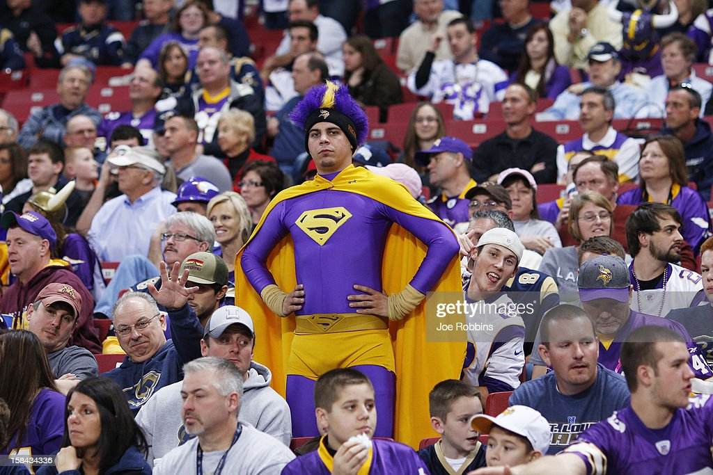 A Minnesota Vikings fan looks on against the St. Louis Rams during the game at Edward Jones Dome on December 16, 2012 in St. Louis, Missouri. The Vikings won 36-22.