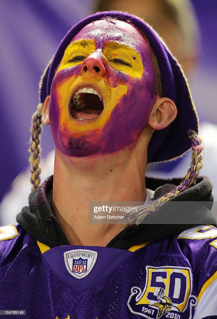 A Minnesota Vikings fan yells during the game against the Tampa Bay Buccaneers at the Hubert H. Humphrey Metrodome on October 25, 2012 in Minneapolis, Minnesota.
