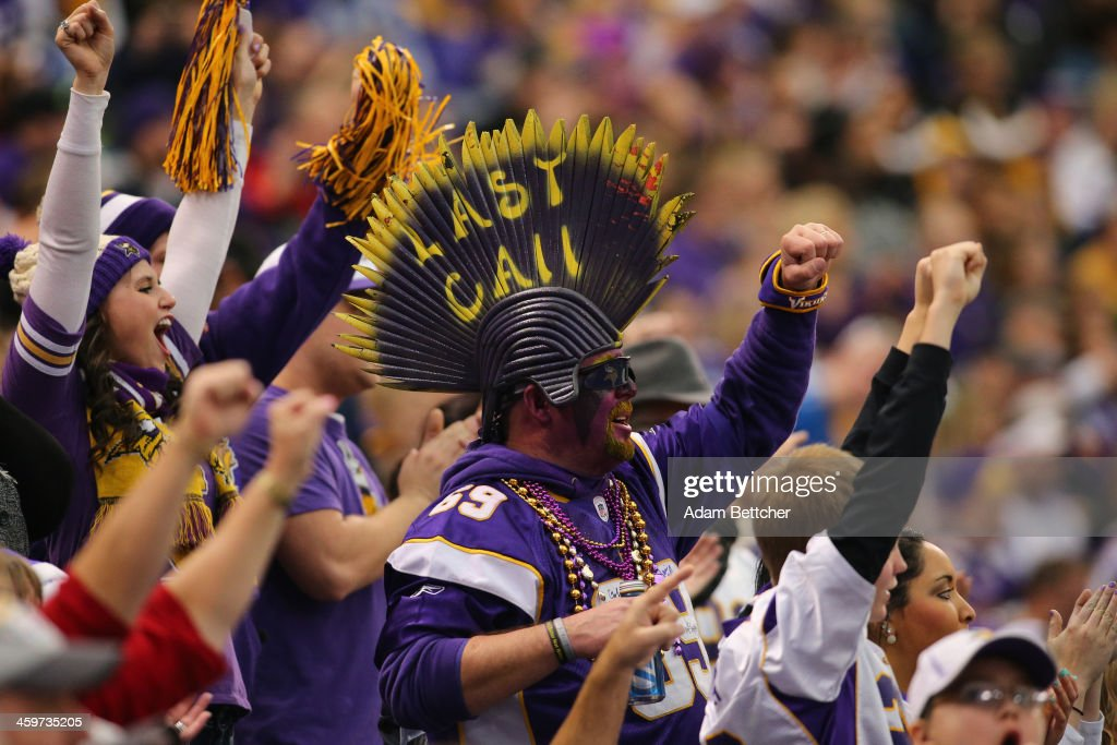 Minnesota Vikings fans cheer during a game against the Detroit Lions on December 29, 2013 at Mall of America Field at the Hubert H. Humphrey Metrodome in Minneapolis, Minnesota.