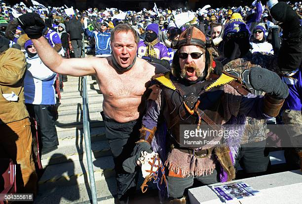 Minnesota Vikings fans cheer during the NFC Wild Card Playoff game between the Minnesota Vikings and the Seattle Seahawks at TCFBank Stadium on...