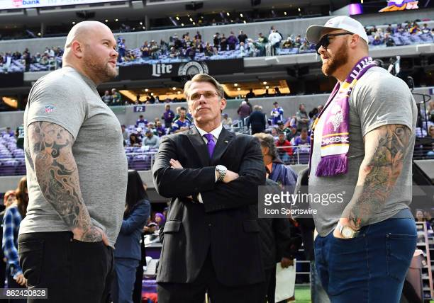 Minnesota Vikings General Manager Rick Spielman stands between World's Strongest Man competitor Stefán Sölvi and Thor Bjornsson who plays The...