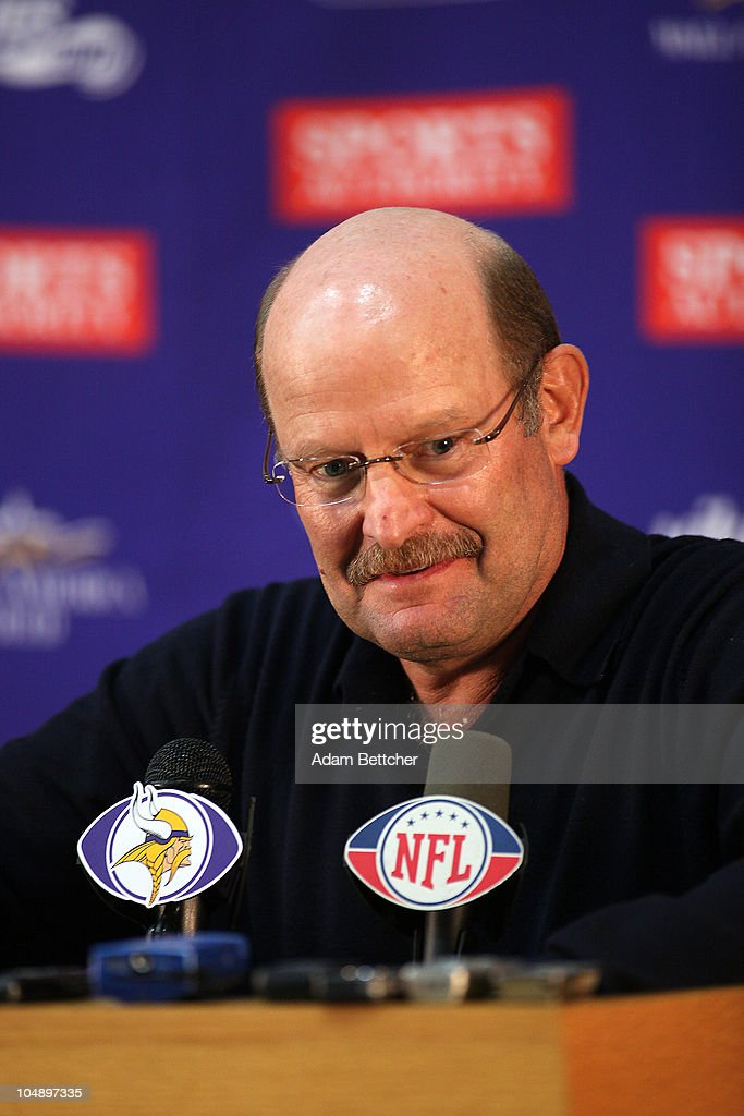 Minnesota Vikings head coach Brad Childress answers questions from the media during a press conference at Winter Park on October 6, 2010 in Eden Prairie, Minnesota. Childress made it official that the Vikings signed wide receiver Randy Moss.